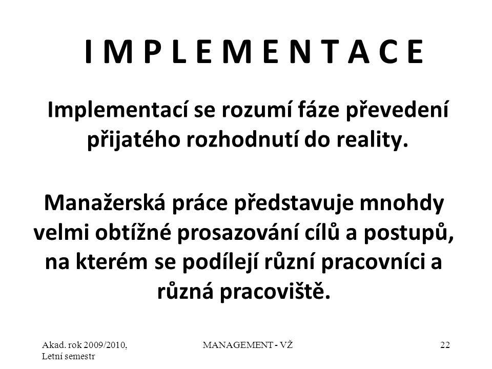 Akad. rok 2009/2010, Letní semestr MANAGEMENT - VŽ22 Implementací se rozumí fáze převedení přijatého rozhodnutí do reality. I M P L E M E N T A C E Ma