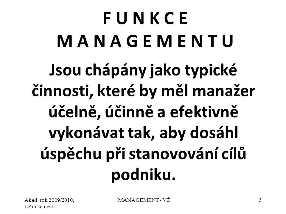 Akad. rok 2009/2010, Letní semestr MANAGEMENT - VŽ3 Jsou chápány jako typické činnosti, které by měl manažer účelně, účinně a efektivně vykonávat tak,