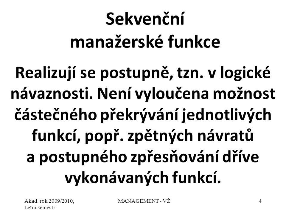 Akad.rok 2009/2010, Letní semestr MANAGEMENT - VŽ5 1.Plánování.