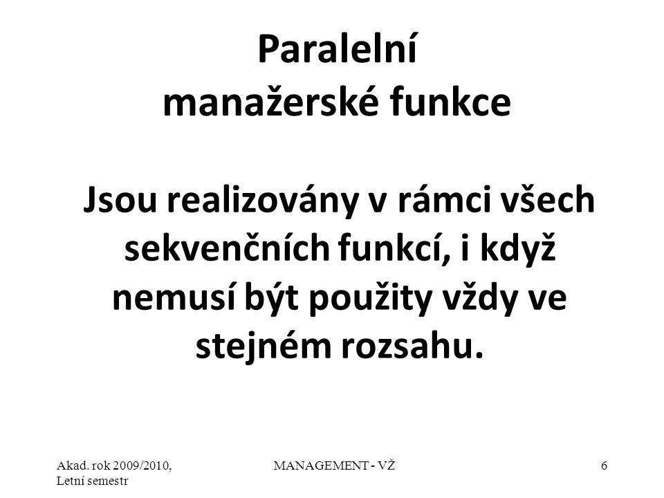 Akad.rok 2009/2010, Letní semestr MANAGEMENT - VŽ7 1.Analyzování.