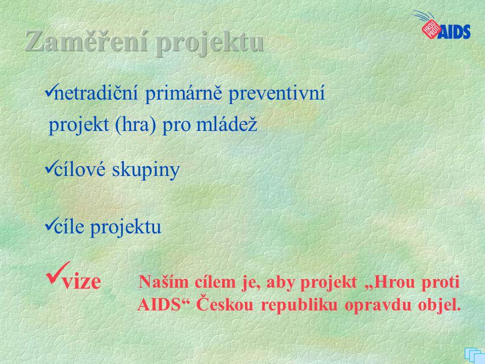 """ netradiční primárně preventivní  projekt (hra) pro mládež  cíle projektu  vize  cílové skupiny Naším cílem je, aby projekt """"Hrou proti AIDS"""" Čes"""