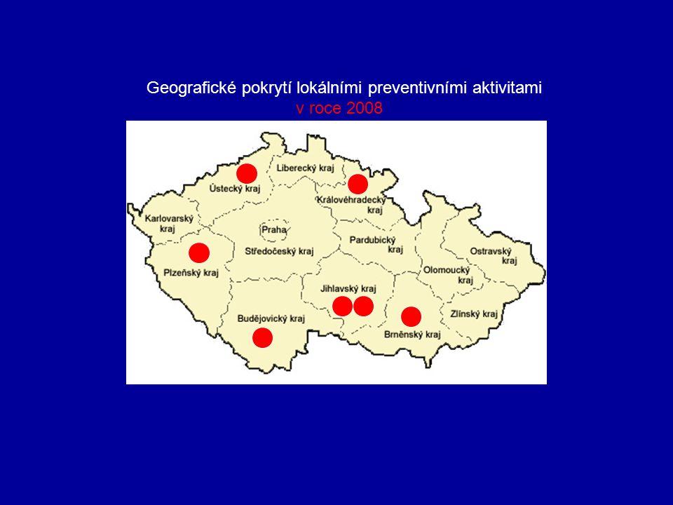 Geografické pokrytí lokálními preventivními aktivitami v roce 2008