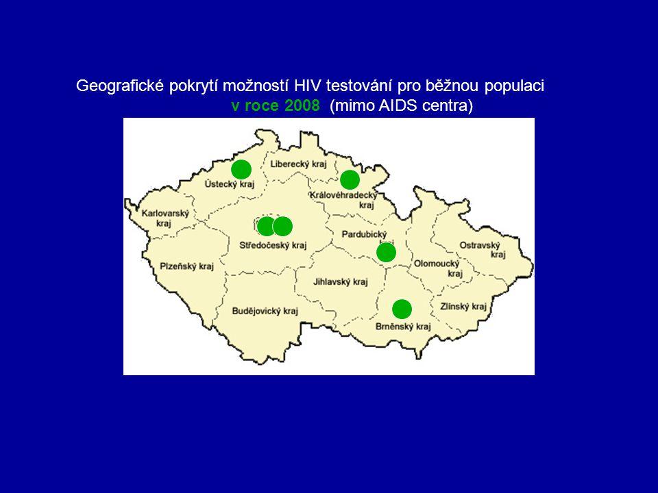 Geografické pokrytí možností HIV testování pro běžnou populaci v roce 2008 (mimo AIDS centra)