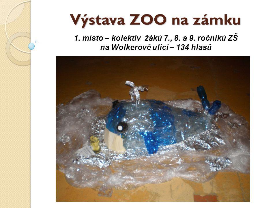 Výstava ZOO na zámku 1. místo – kolektiv žáků 7., 8. a 9. ročníků ZŠ na Wolkerově ulici – 134 hlasů
