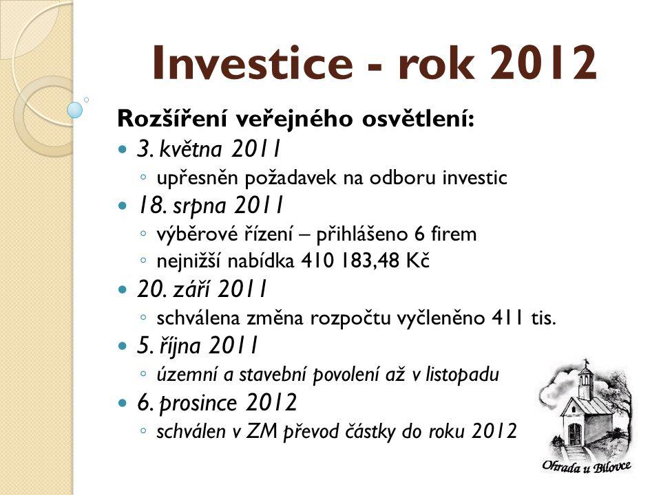 Investice - rok 2012 Rozšíření veřejného osvětlení:  3.