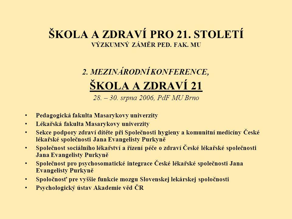 ŠKOLA A ZDRAVÍ PRO 21. STOLETÍ VÝZKUMNÝ ZÁMĚR PED. FAK. MU 2. MEZINÁRODNÍ KONFERENCE, ŠKOLA A ZDRAVÍ 21 28. – 30. srpna 2006, PdF MU Brno •Pedagogická