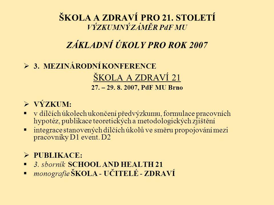 ŠKOLA A ZDRAVÍ PRO 21. STOLETÍ VÝZKUMNÝ ZÁMĚR PdF MU ZÁKLADNÍ ÚKOLY PRO ROK 2007  3. MEZINÁRODNÍ KONFERENCE ŠKOLA A ZDRAVÍ 21 27. – 29. 8. 2007, PdF