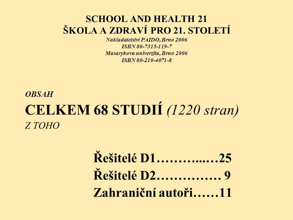 SCHOOL AND HEALTH 21 ŠKOLA A ZDRAVÍ PRO 21. STOLETÍ Nakladatelství PAIDO, Brno 2006 ISBN 80-7315-119-7 Masarykova univerzita, Brno 2006 ISBN 80-210-40