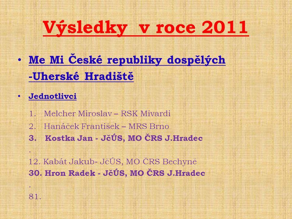 • Me Mi České republiky dospělých -Uherské Hradiště • Jednotlivci 1. Melcher Miroslav – RSK Mivardi 2. Hanáček František – MRS Brno 3. Kostka Jan - Jč