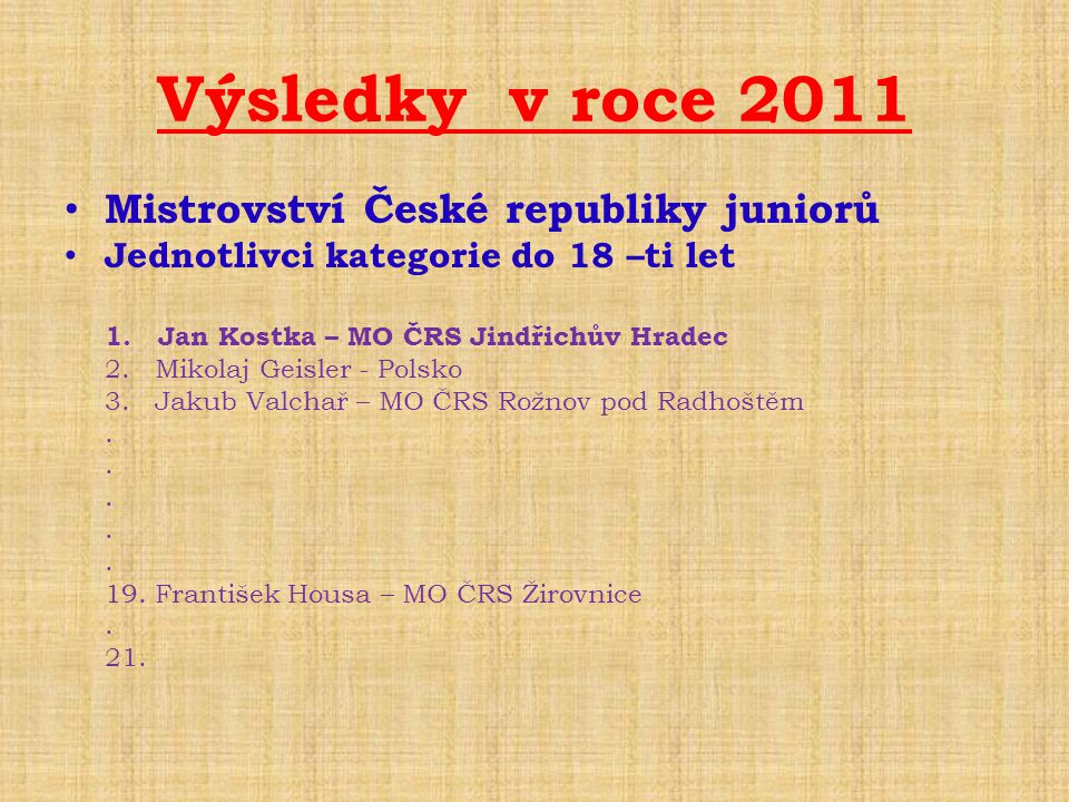 Výsledky v roce 2011 • Mistrovství České republiky juniorů • Jednotlivci kategorie do 18 –ti let 1. Jan Kostka – MO ČRS Jindřichův Hradec 2. Mikolaj G
