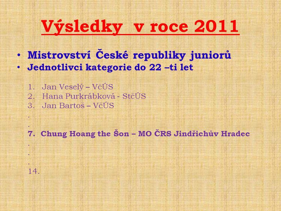 Výsledky v roce 2011 • Mistrovství České republiky juniorů • Jednotlivci kategorie do 22 –ti let 1. Jan Veselý – VčÚS 2. Hana Purkrábková - StčÚS 3. J