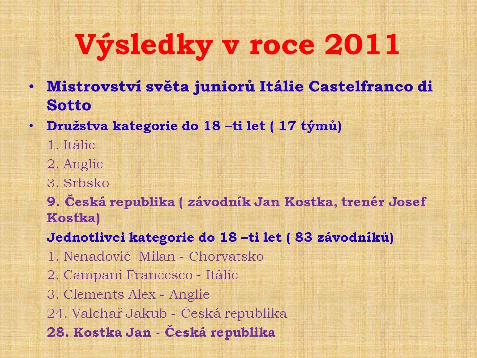 Výsledky v roce 2011 • Mistrovství světa juniorů Itálie Castelfranco di Sotto • Družstva kategorie do 18 –ti let ( 17 týmů) 1. Itálie 2. Anglie 3. Srb