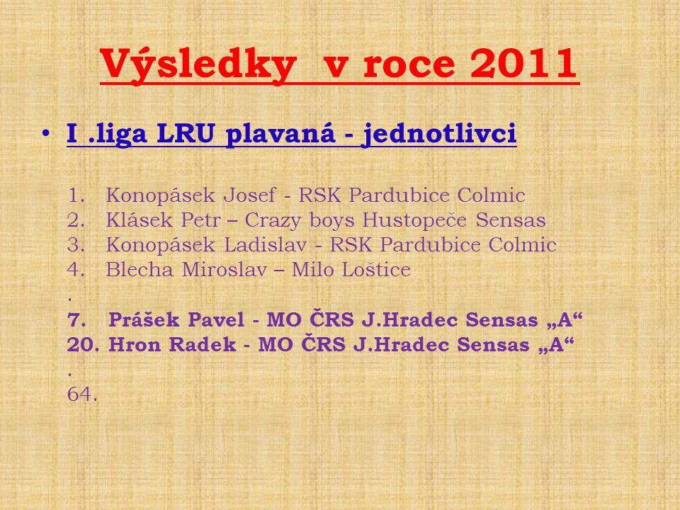 Výsledky v roce 2011 • I.liga LRU plavaná - jednotlivci 1. Konopásek Josef - RSK Pardubice Colmic 2. Klásek Petr – Crazy boys Hustopeče Sensas 3. Kono