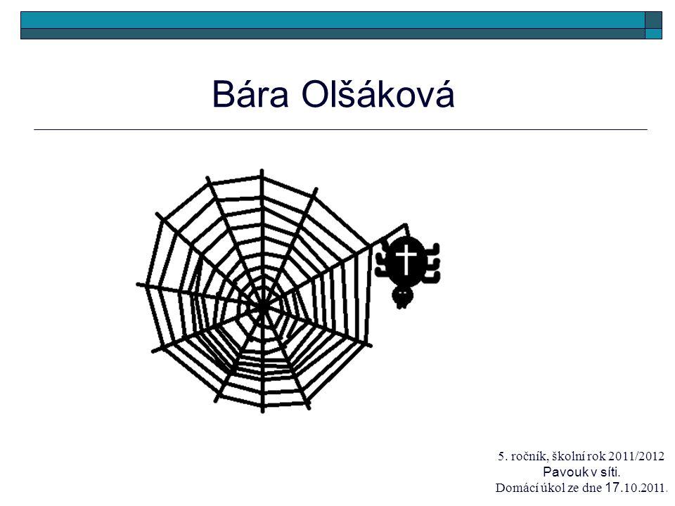 Bára Olšáková 5. ročník, školní rok 2011/2012 Pavouk v síti. Domácí úkol ze dne 17.10.2011.