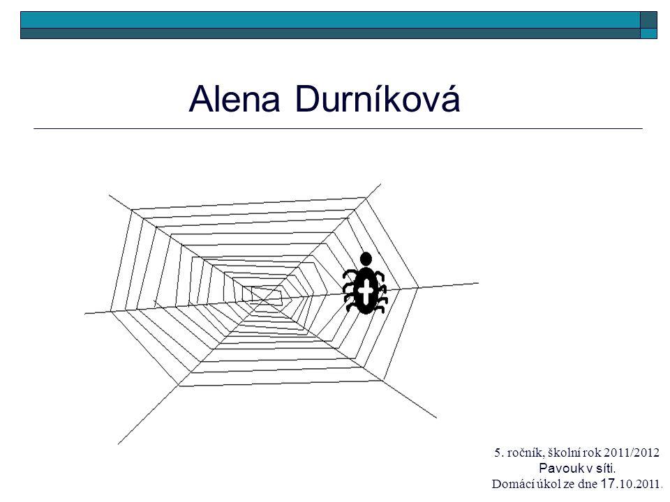 Alena Durníková 5. ročník, školní rok 2011/2012 Pavouk v síti. Domácí úkol ze dne 17.10.2011.