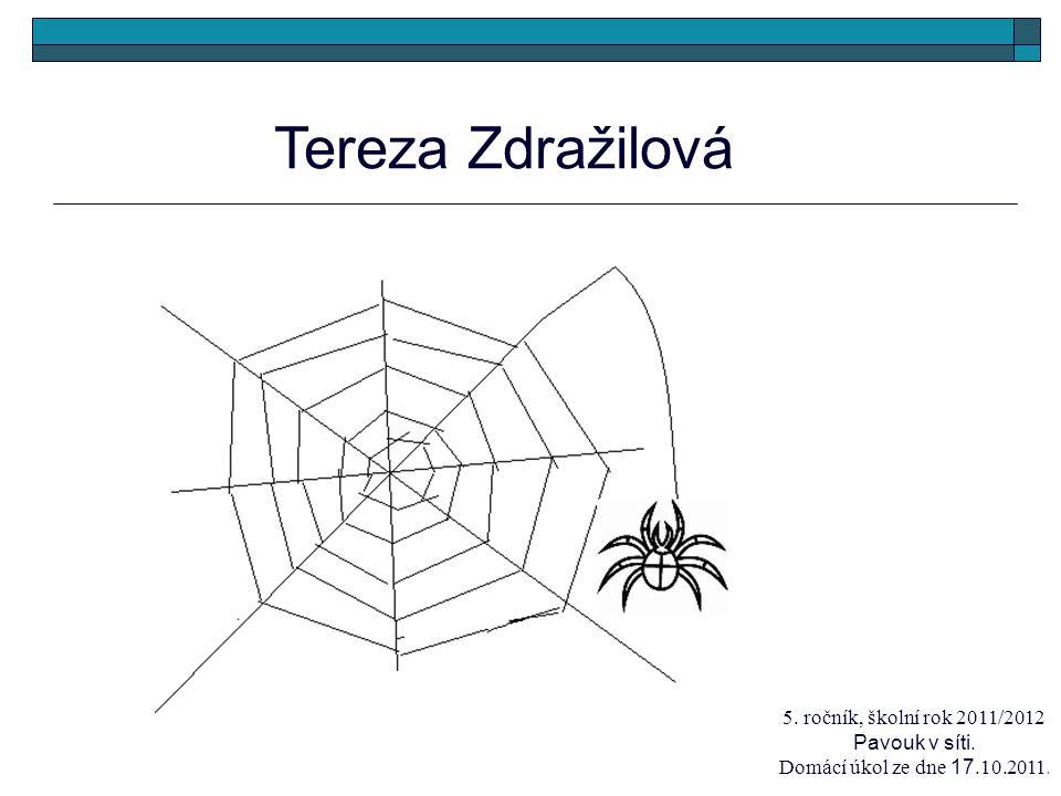 Tereza Zdražilová 5. ročník, školní rok 2011/2012 Pavouk v síti. Domácí úkol ze dne 17.10.2011.