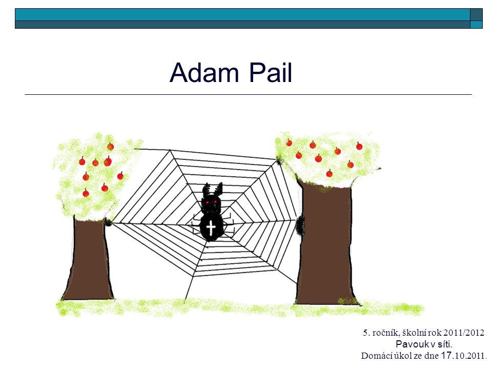 Adam Pail 5. ročník, školní rok 2011/2012 Pavouk v síti. Domácí úkol ze dne 17.10.2011.