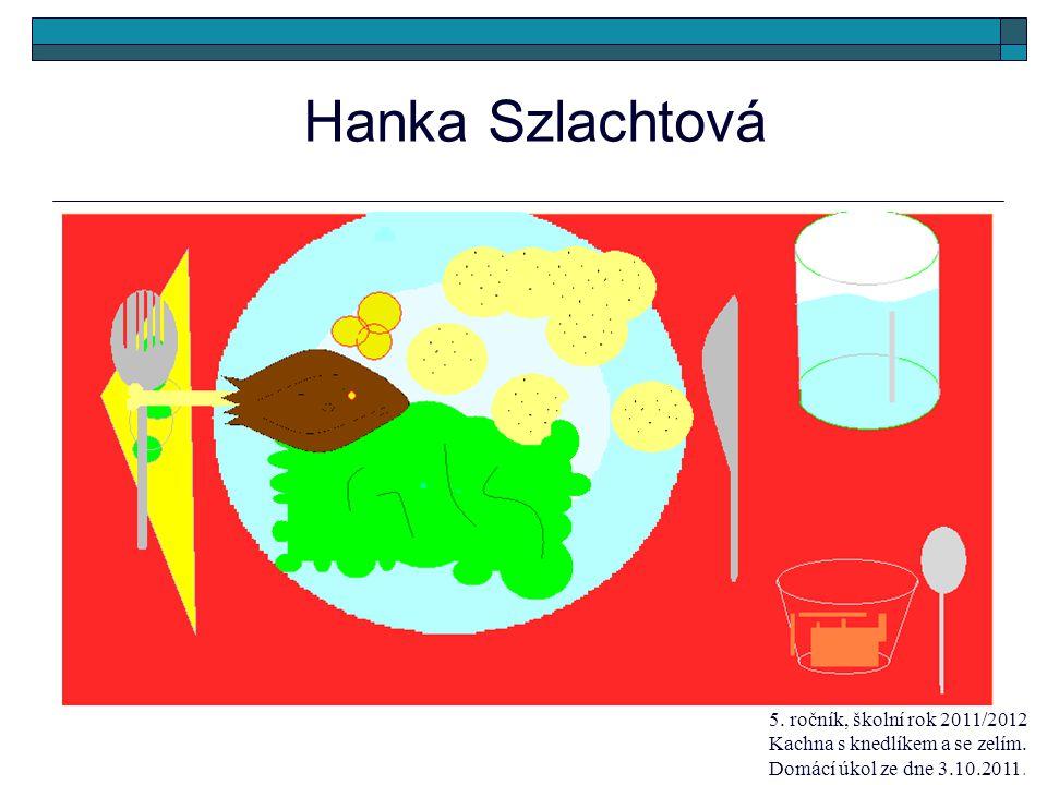 Hanka Szlachtová 5. ročník, školní rok 2011/2012 Kachna s knedlíkem a se zelím. Domácí úkol ze dne 3.10.2011.