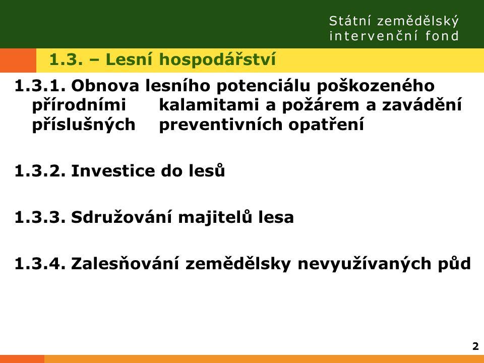1.3. – Lesní hospodářství 1.3.1. Obnova lesního potenciálu poškozeného přírodními kalamitami a požárem a zavádění příslušných preventivních opatření 1
