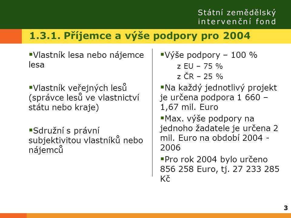 1.3.1. Příjemce a výše podpory pro 2004  Vlastník lesa nebo nájemce lesa  Vlastník veřejných lesů (správce lesů ve vlastnictví státu nebo kraje)  S