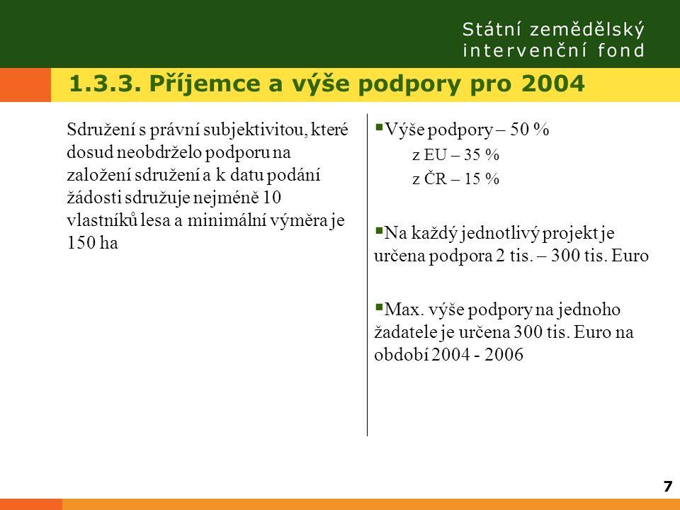 1.3.3. Příjemce a výše podpory pro 2004 Sdružení s právní subjektivitou, které dosud neobdrželo podporu na založení sdružení a k datu podání žádosti s