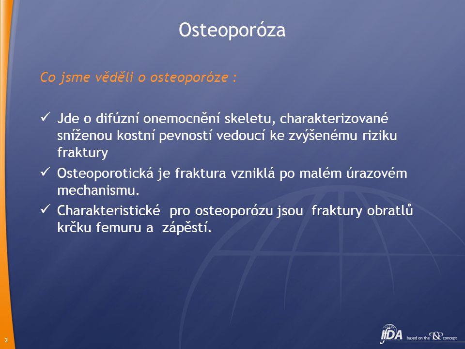 2 Osteoporóza Co jsme věděli o osteoporóze :  Jde o difúzní onemocnění skeletu, charakterizované sníženou kostní pevností vedoucí ke zvýšenému riziku fraktury  Osteoporotická je fraktura vzniklá po malém úrazovém mechanismu.