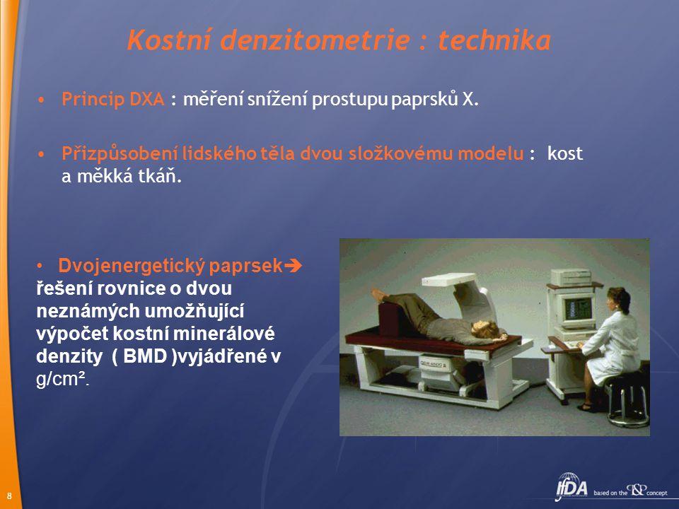 8 Kostní denzitometrie : technika •Princip DXA : měření snížení prostupu paprsků X.