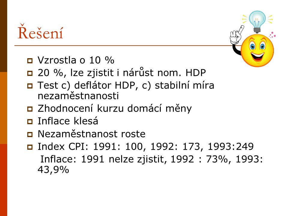 Řešení  Vzrostla o 10 %  20 %, lze zjistit i nárůst nom. HDP  Test c) deflátor HDP, c) stabilní míra nezaměstnanosti  Zhodnocení kurzu domácí měny