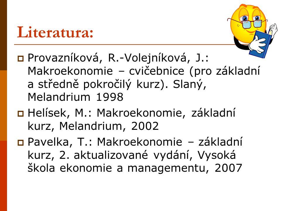 Literatura:  Provazníková, R.-Volejníková, J.: Makroekonomie – cvičebnice (pro základní a středně pokročilý kurz). Slaný, Melandrium 1998  Helísek,