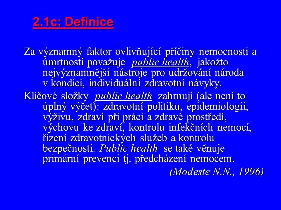 2.1c: Definice Za významný faktor ovlivňující příčiny nemocnosti a úmrtnosti považuje public health, jakožto nejvýznamnější nástroje pro udržování národa v kondici, individuální zdravotní návyky.