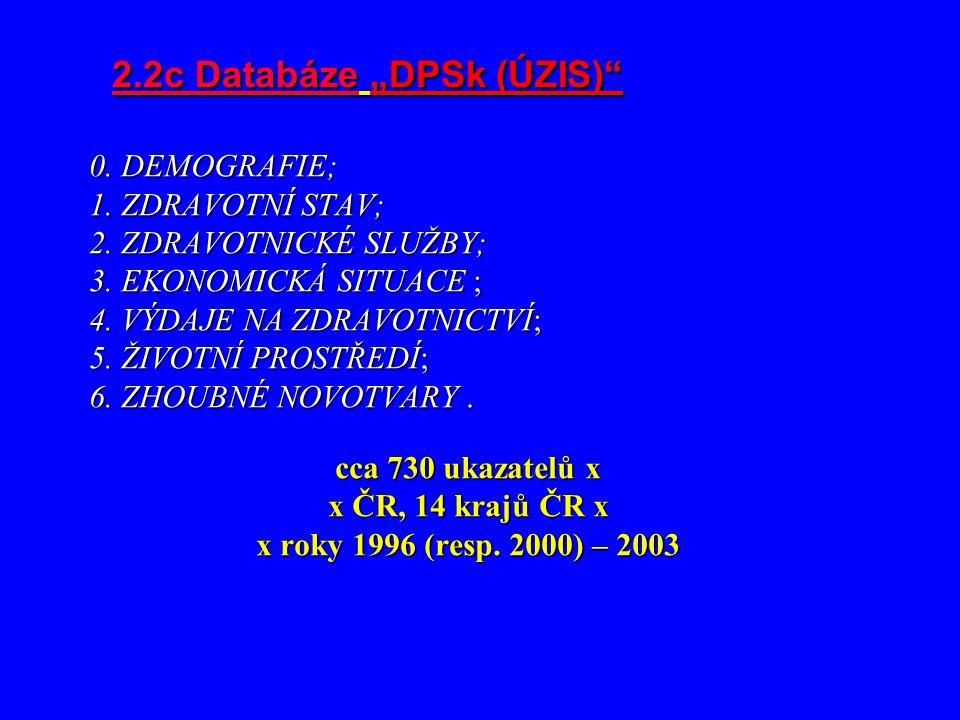"""2.2c Databáze """"DPSk (ÚZIS)"""" 0. DEMOGRAFIE; 1. ZDRAVOTNÍ STAV; 2. ZDRAVOTNICKÉ SLUŽBY; 3. EKONOMICKÁ SITUACE ; 4. VÝDAJE NA ZDRAVOTNICTVÍ; 5. ŽIVOTNÍ P"""