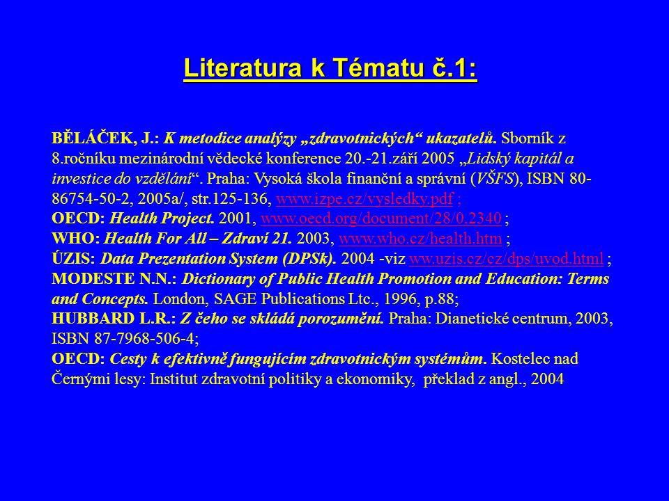 """Literatura k Tématu č.1: BĚLÁČEK, J.: K metodice analýzy """"zdravotnických ukazatelů."""