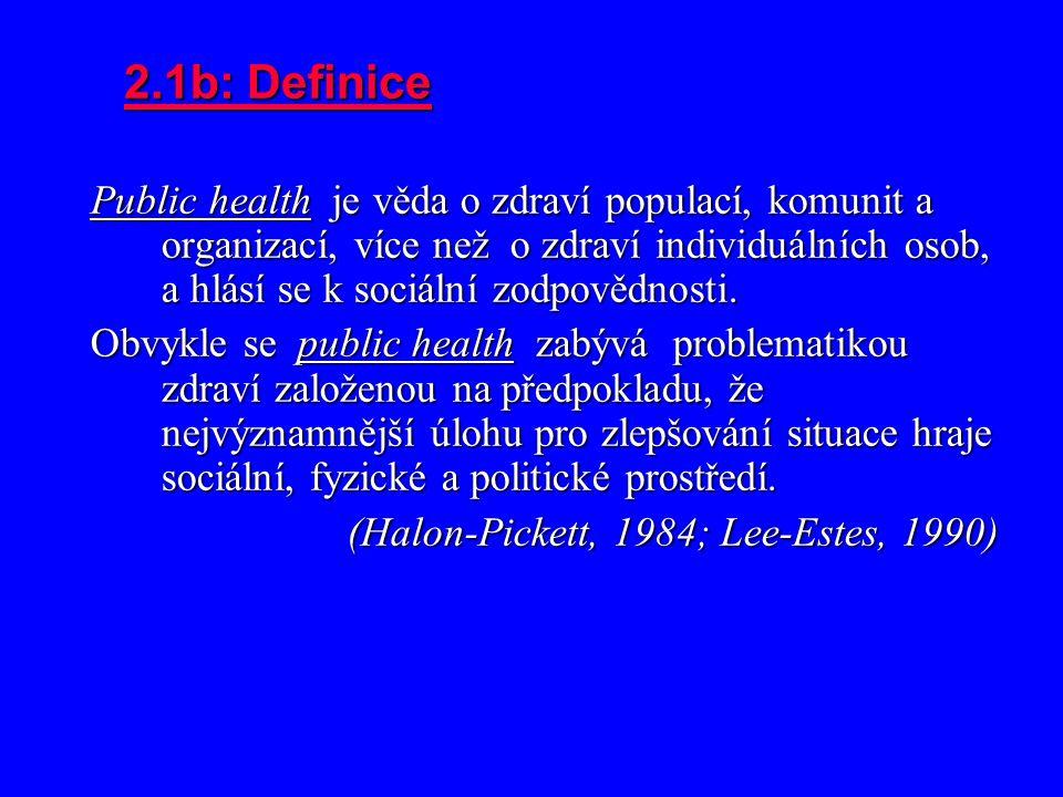 2.1b: Definice Public health je věda o zdraví populací, komunit a organizací, více než o zdraví individuálních osob, a hlásí se k sociální zodpovědnosti.