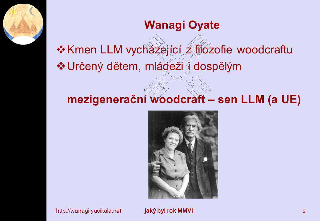 http://wanagi.yucikala.netjaký byl rok MMVI 2 Wanagi Oyate  Kmen LLM vycházející z filozofie woodcraftu  Určený dětem, mládeži i dospělým mezigenerační woodcraft – sen LLM (a UE)