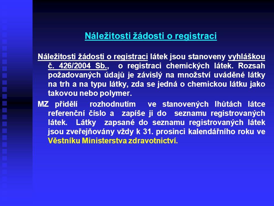Náležitosti žádosti o registraci Náležitosti žádosti o registraci látek jsou stanoveny vyhláškou č. 426/2004 Sb., o registraci chemických látek. Rozsa