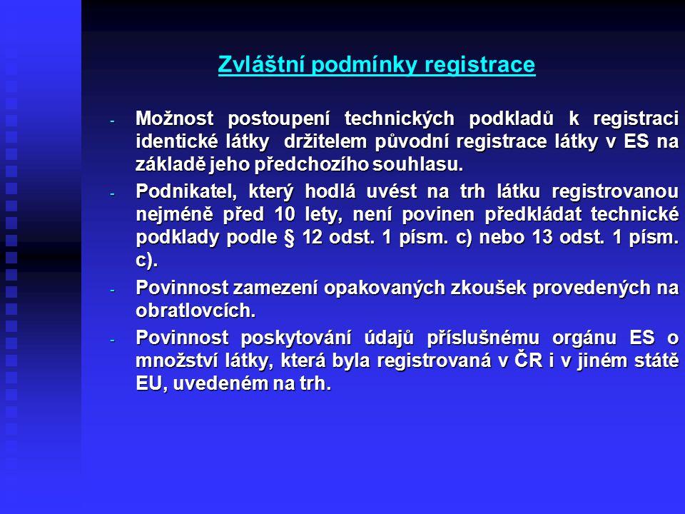 Zvláštní podmínky registrace - Možnost postoupení technických podkladů k registraci identické látky držitelem původní registrace látky v ES na základě