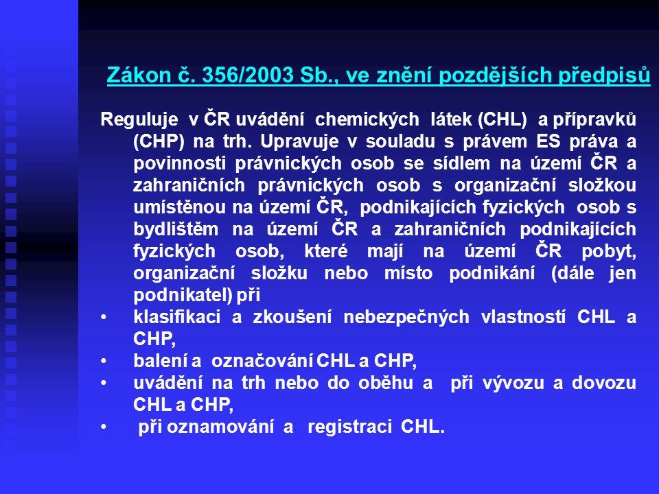 Zákon č. 356/2003 Sb., ve znění pozdějších předpisů Reguluje v ČR uvádění chemických látek (CHL) a přípravků (CHP) na trh. Upravuje v souladu s právem