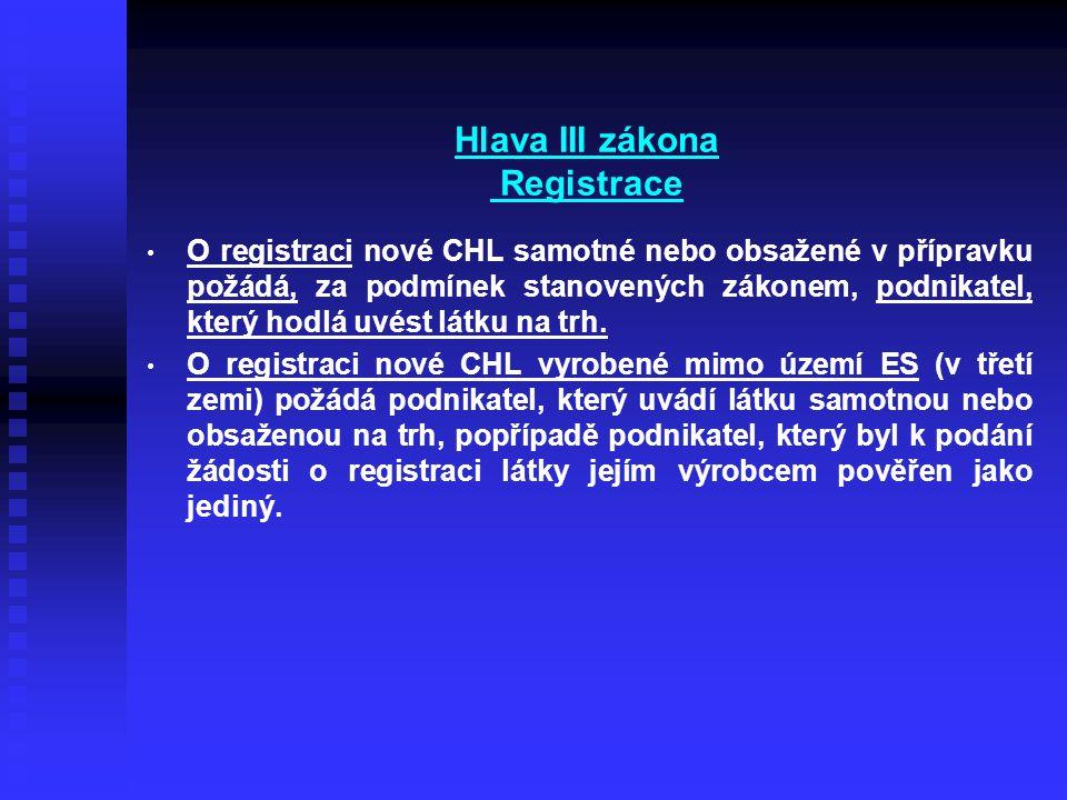 Hlava III zákona Registrace • • O registraci nové CHL samotné nebo obsažené v přípravku požádá, za podmínek stanovených zákonem, podnikatel, který hodlá uvést látku na trh.