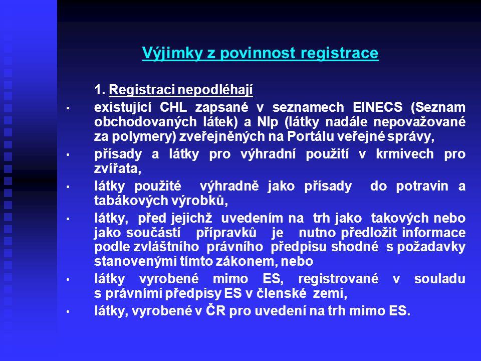 Výjimky z povinnost registrace 1. Registraci nepodléhají • • existující CHL zapsané v seznamech EINECS (Seznam obchodovaných látek) a Nlp (látky nadál