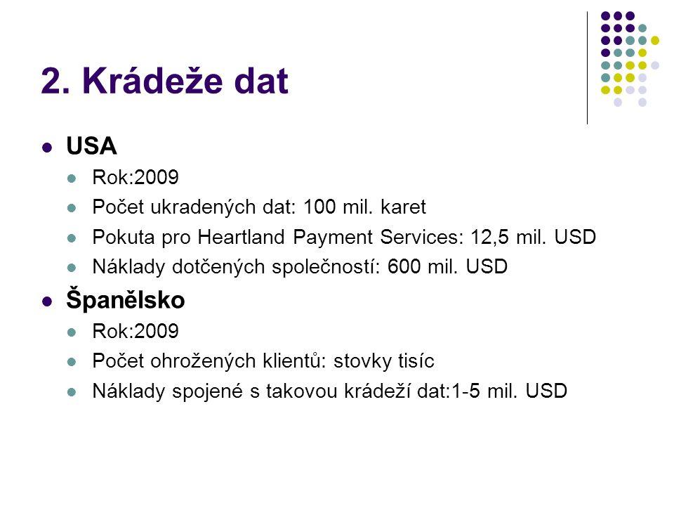 2. Krádeže dat  USA  Rok:2009  Počet ukradených dat: 100 mil. karet  Pokuta pro Heartland Payment Services: 12,5 mil. USD  Náklady dotčených spol