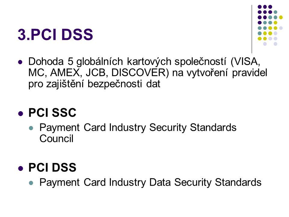 3.PCI DSS  Dohoda 5 globálních kartových společností (VISA, MC, AMEX, JCB, DISCOVER) na vytvoření pravidel pro zajištění bezpečnosti dat  PCI SSC  Payment Card Industry Security Standards Council  PCI DSS  Payment Card Industry Data Security Standards