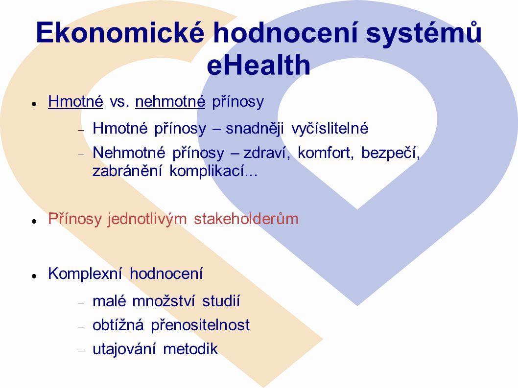 Ekonomické hodnocení systémů eHealth  Hmotné vs. nehmotné přínosy  Hmotné přínosy – snadněji vyčíslitelné  Nehmotné přínosy – zdraví, komfort, bezp