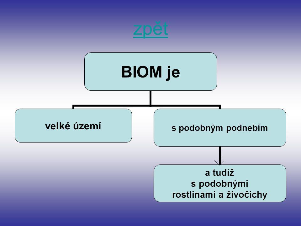 BIOM je velké území s podobným podnebím a tudíž s podobnými rostlinami a živočichy