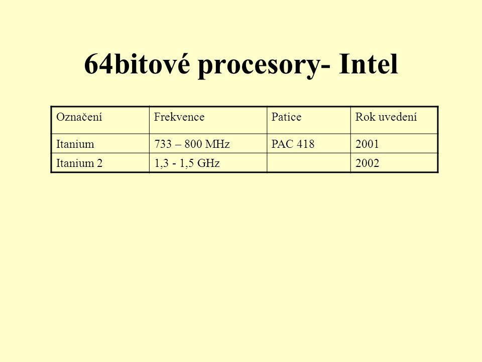 64bitové procesory- Intel OznačeníFrekvencePaticeRok uvedení Itanium733 – 800 MHzPAC 4182001 Itanium 21,3 - 1,5 GHz2002