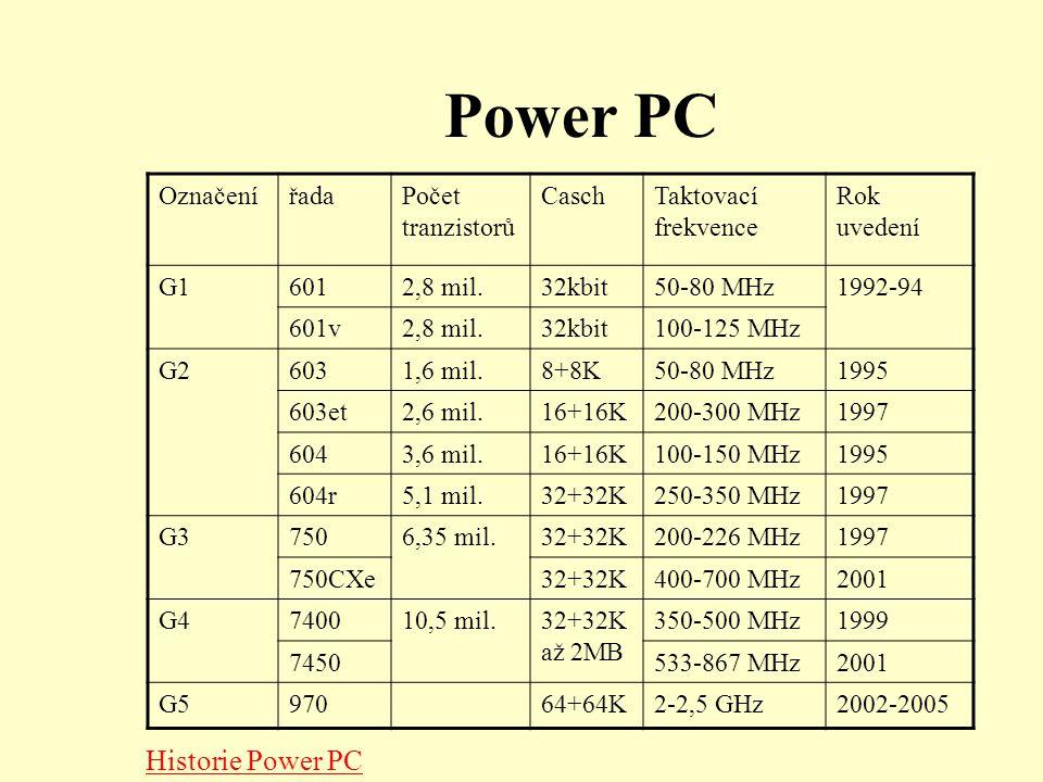 Power PC OznačenířadaPočet tranzistorů CaschTaktovací frekvence Rok uvedení G16012,8 mil.32kbit50-80 MHz1992-94 601v2,8 mil.32kbit100-125 MHz G26031,6 mil.8+8K50-80 MHz1995 603et2,6 mil.16+16K200-300 MHz1997 6043,6 mil.16+16K100-150 MHz1995 604r5,1 mil.32+32K250-350 MHz1997 G37506,35 mil.32+32K200-226 MHz1997 750CXe32+32K400-700 MHz2001 G4740010,5 mil.32+32K až 2MB 350-500 MHz1999 7450533-867 MHz2001 G597064+64K2-2,5 GHz2002-2005 Historie Power PC