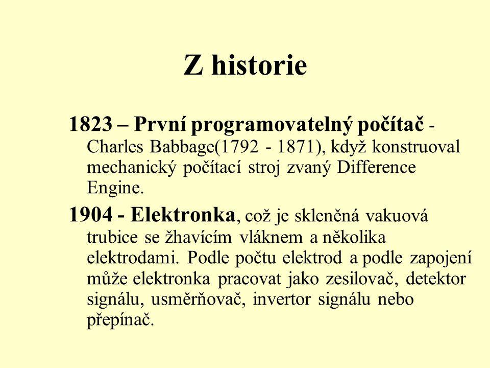 Z historie 1823 – První programovatelný počítač - Charles Babbage(1792 - 1871), když konstruoval mechanický počítací stroj zvaný Difference Engine.
