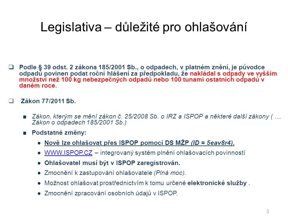 Legislativa – důležité pro ohlašování  Podle § 39 odst.