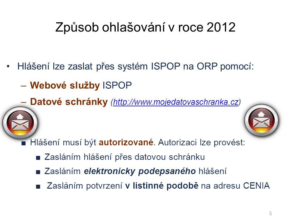 Způsob ohlašování v roce 2012 •Hlášení lze zaslat přes systém ISPOP na ORP pomocí: –Webové služby ISPOP –Datové schránky (http://www.mojedatovaschranka.cz)http://www.mojedatovaschranka.cz 5 ■Hlášení musí být autorizované.