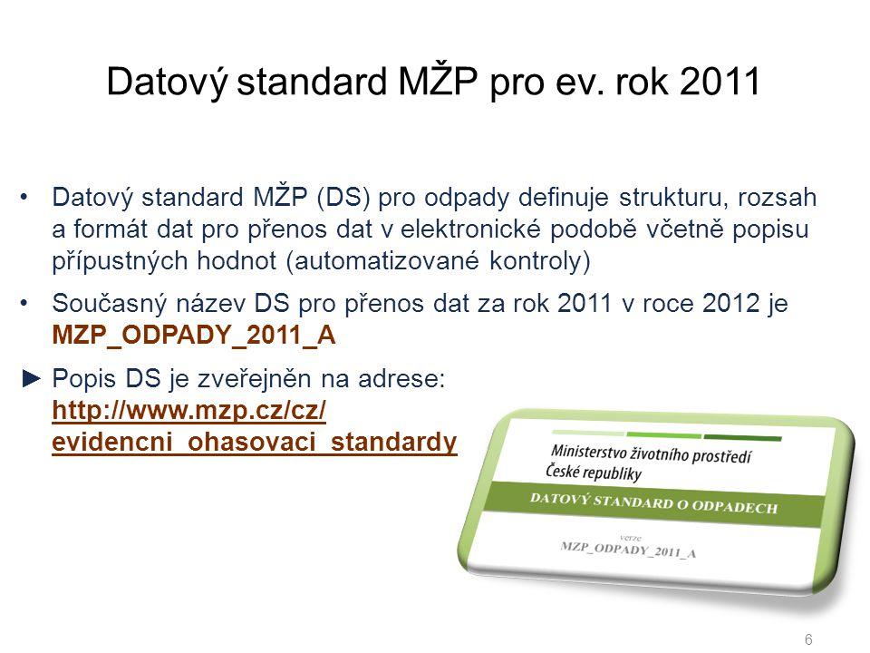 Datový standard MŽP pro ev.