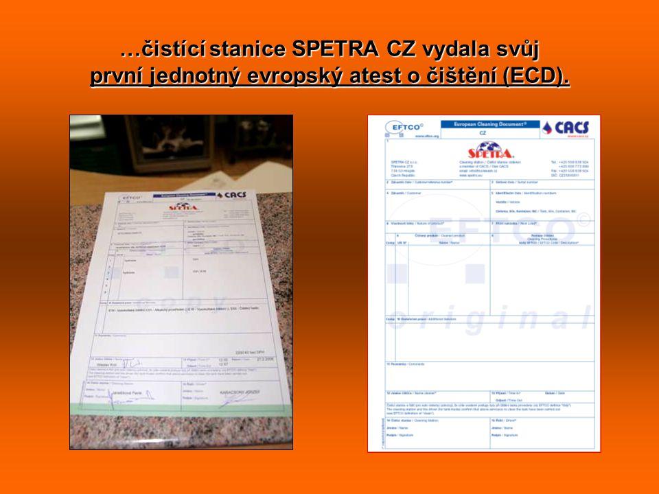 …čistící stanice SPETRA CZ vydala svůj první jednotný evropský atest o čištění (ECD).